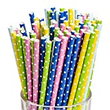 ITME 100 Pcs Pajitas de Papel Desechables Biodegradables Pajitas de Lunares Multicolores para Decoración y Beber Pajitas de Papel para Fiestas en Casa, Bodas y Todas las Ocasiones