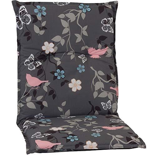 nxtbuy Gartenstuhl-Auflage Barcelona 100x50 cm Vintage Flower 4er Set - Niedriglehnerauflage für Gartenstühle - Stuhlauflage mit Komfortschaumkern - Made in EU / ÖkoTex100