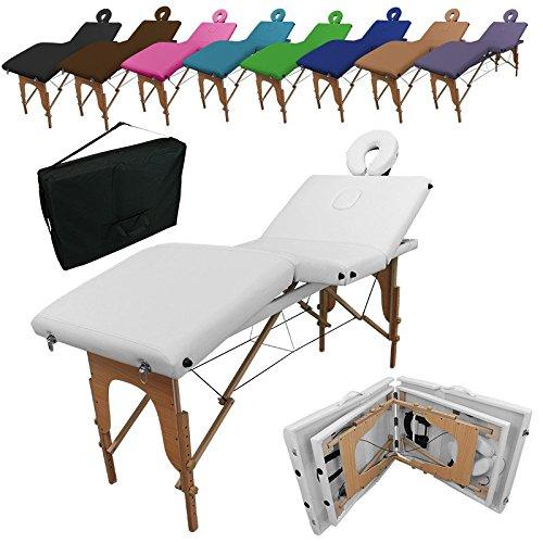 Linxor ® Mesa de masaje plegable 4 zonas de madera con panel de Reiki + accesorios y bolsa de transporte - Nueve colores - Norma CE
