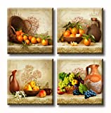 JiazuGo Kitchen Wall Decor Canvas Art for Dining Room Vintage Theme Fruit Pictures Farmhouse Rustic Signs Paintings Bar Accessories Realism Colorful Framed Decorations 4 Pcs/Set