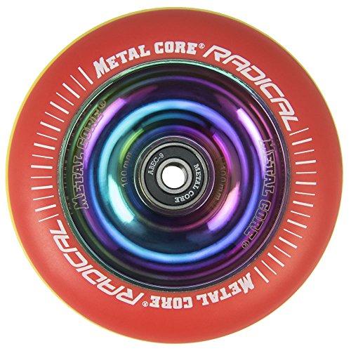 Metal Core Rueda Radical Rainbow para Scooter Freestyle, Diámetro 100 mm