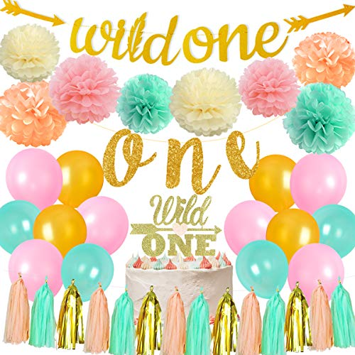 Jollyboom Wild One Birthday Decorations Boho Floral 1st Birthday Party Decorations Mint Peach Gold with Wild One Highchair Banner Garland Cake Topper