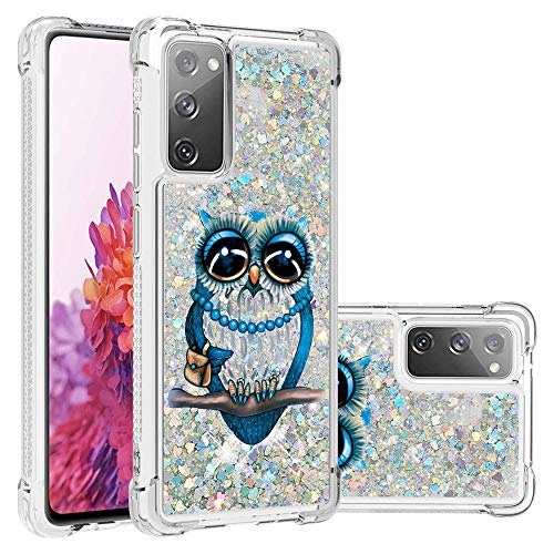 ISADENSER Case for Samsung Galaxy S20 FE 5G Cover Clear Soft TPU Glitter Stylish Case Shiny Flowing Liquid with air Thicked Corner Protective Cover for Samsung Galaxy S20 FE 5G Glitter Owl YB
