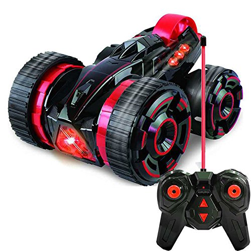 SZJJX Five Wheels Race Stunt Car Remote Control RC Vehicle with LED Headlights Extreme 2WD High Speed 360 Degree Rolling Rotating Rotation Red