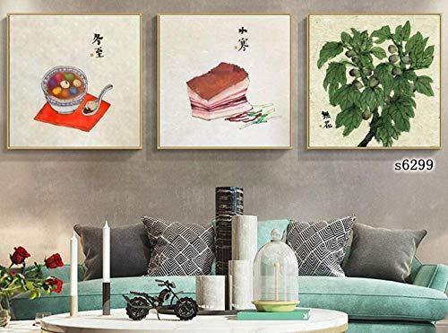 ZXYJJBCL Lebensmittel Und Grüne Pflanzen Chinesische Malerei Leinwanddruck Wandkunst Bild 3 Stück Gemälde ModerneKunstwerke Bilder Fotodrucke Triptychon