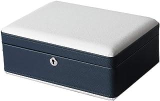 صندوق مجوهرات مجوهرات للرجال صندوق ساعة للرجال صندوق تخزين مجوهرات للرجال قابل للقفل, ازرق, 26*19.5*10cm