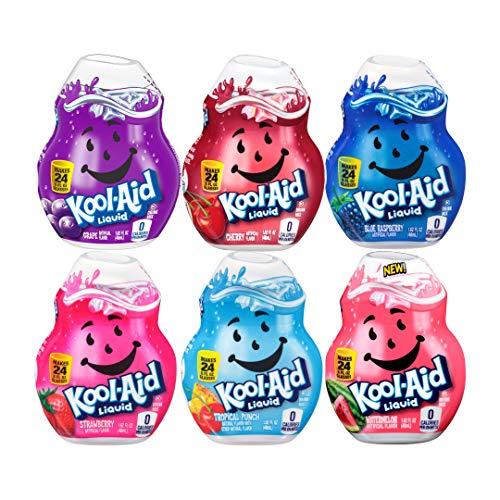 Kool-Aid Liquid Drink Mix Variety Pack, 1 Cherry, 1 Grape, 1 Tropical Punch, 1 Strawberry, 1 Blue Raspberry, 1 Watermelon, 6 CT