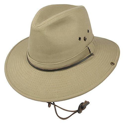 Village Hats Chapeau Australien en Coton avec Jugulaire Dorfman-Pacific - Medium