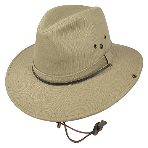 Village Hats Chapeau Australien en Coton avec Jugulaire Dorfman-Pacific - Medium
