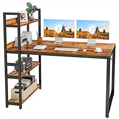 CubiCubi Computer Desk 55 inch with Storage Shelves Study Writing Table for Home Office,Modern Simple Style, Rustic Brown by CubiCubi