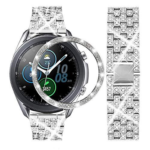 DEALELE Correa compatible con Samsung Galaxy Watch 3 de 45 mm, 22 mm de acero inoxidable con bisel de Strass anillo de repuesto para mujeres y hombres, plata