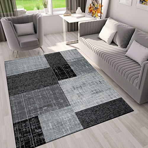 VIMODA Designer Teppich in Grau, Schwarz und Weiß mit Kachel Optik, Maße:200 x 290 cm