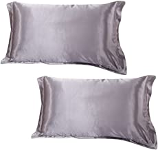 Dehman 2xSilky Soft Satin Standard Pillow Cushion Cover Pillowcase Bed Decor-Grey