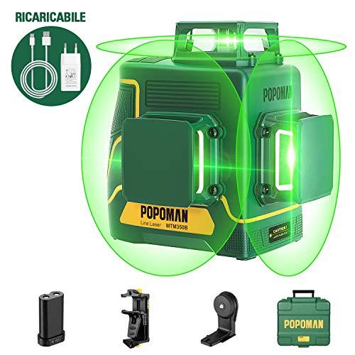 POPOMAN Livella laser Verde 45m, 3x360° Professionale Linea Laser Croce, USB Ricarica, Autolivellante e Funzione Impulso, borsa per il trasporto (incl. 5200 mAh batteria al litio e Base magnetica) …
