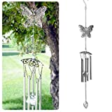 BANBERRY DESIGNS Patio Wind Chime - Filigree Butterfly Design with Metal Ball - Garden Chimes - Patio Decor - Butterfly Gifts for Her - 30' L