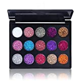 1Set Glitter Eyeshadow Palette 15 Shades Shiny And Pigmented Eyeshadow Mineral Pressed Powder Sequins Eye Shadow Sparkling Eyes Make Up(01)