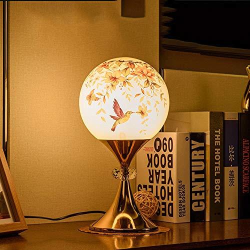 Kk Timo Lámpara de escritorio LED de diseño romántico, elegante y clásico, con pantalla de diseño de bola de cristal, cuerpo metálico con pintura dorada for dormitorio, sala de estar, decoración