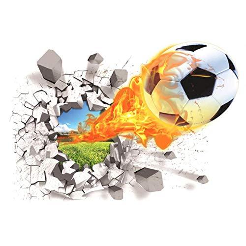 TOPofly Papel de empapelar la decoración del hogar de fútbol Etiqueta de la Pared Creativa Tatuajes de Pared Sala de Estar de los niños extraíble del balón de fútbol Colorido