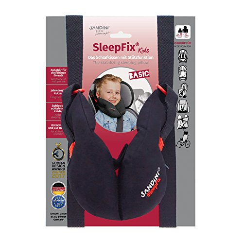 SANDINI SleepFix Kids BASIC – Kinder Schlafkissen/Nackenkissen mit Stützfunktion – Kindersitz-Zubehör als BASIC Version für Auto/Fahrrad/Reise – Verhindert das Abkippen des Kopfes im Schlaf