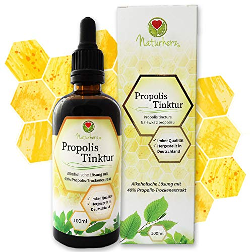 Naturherz Propolis Tinktur - hochdosiertes 40% reines Propolis - MADE IN GERMANY: Echte Imker-Qualität, Extrakt hergestellt und geprüft in Deutschland - 100% Natur - Apotheken-Qualität - 100 ml