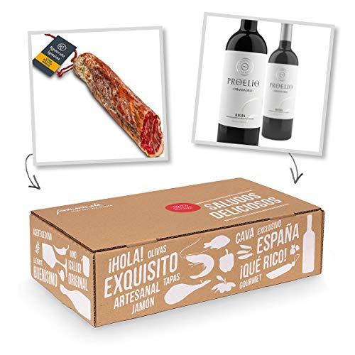Geschenk-Box Klassisches Spanien - Pata Negra Lomo de Bellota 100% Iberico und Rioja-Rotwein Crianza - Geschenk für Gourmets