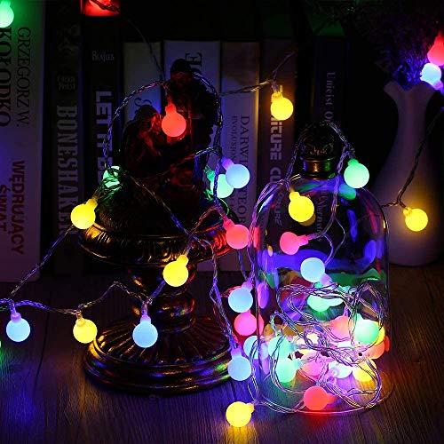 BrizLabs Catena Luminosa Multicolore, 10M 100 LED RGB Luci Stringa Palla Luci LED Esterno Interno Impermeabile 8 Modalità Illuminazione Decorative per Camera Natale Matrimonio Giardino Feste Balcone