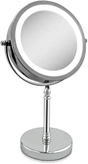 Magnifying Mirror 10x, Tabletop Mirror with Light Makeup Mirror Double Sided Round Shape 1x 10x Magnification Mirror (10x)