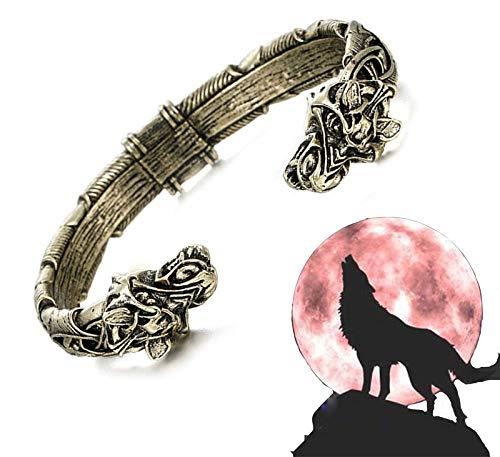 The Great Fenrir Handcrafted Bracelet, Wolf Head Handmade Viking Bracelet, Norse Fashion Cuff Braceleet Double Dragon Bangle Bracelet (Bronze)