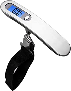 Digital Luggage Scale, TERSELY Portable Hanging Digital Scale with Stainless Steel Backlight LCD Display, Up to 110LB (50 kg) with Tare Function for Travel - Silver