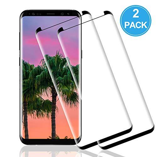 Wiestoung Pellicola proteggi schermo in vetro temperato per Samsung Galaxy S8, [2 pezzi] [resistente ai graffi] [senza bolle] [bordo 2.5D] Pellicola protettiva vetro trasparente HD per Samsung S8