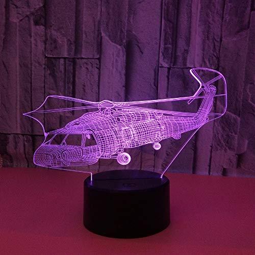 JYHW Led-nachtlampje voor vliegtuig in 7 kleuren, touch-control, ledlampje, 3D-verlichting, cadeau, 3D, kleine bureaulamp