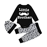 AUSVERKAUF. mingfa Newborn Toddler Jungen Lange Ärmel Buchstabe Little Brother Strampler Tops +...