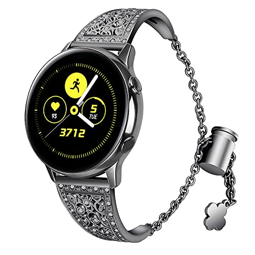 HGNZMD Pulsera Compatible con Galaxy Watch 42MM / 46MM, Correa De Metal Banda De Joyería con Purpurina Band De Repuesto Strap De Acero Inoxidable Compatible con Galaxy Watch 42 / 46MM,Black 42mm