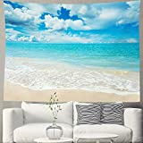 HIYOO Beach Waves Tapestry Wall Hanging Blue Sky Coulds Nature Tapestry Tropical Ocean Sea Seashore Coast Wall Tapestries Decor for Dorm Bedroom, Home Wall Background - Pale Blue Water 60' W x 40' L