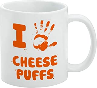 I Love Cheese Puffs Hand Print and Crumbs Funny White Mug