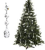 Christmas Ornaments Tree Decorations - Acrylic Crystal Ball Drops Clear Teardrop Chandelier Pendants Beads Suncatchers Party Decor (Pack of 30)