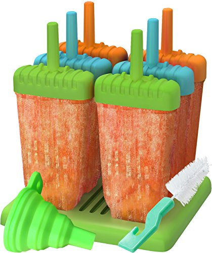 Popsicle Molds, Ozera Set of 6 Reusable Ice Pop Molds Maker, Popsicle Trays with Silicone Funnel & Cleaning Brush, Multicolors
