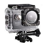 Yosoo Health Gear Cámara de acción Deportiva, videocámara DV submarina Impermeable de 30 m, videocámara HD DV de ángulo de 90 Grados con Kit de Accesorios de Montaje(Negro)