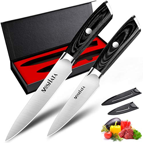 MOSFiATA Kitchen Knife Set 5?/13cm Chef Knife Cooks All Purpose and 3.5?/9cm Paring Knife, Professiona Carbon German Stainless Steel, Cooking Knives,Bonus Cover x 2, Gift Box