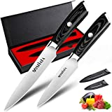 "MOSFiATA Kitchen Knife Set 5""/13cm Chef Knife Cooks All Purpose and 3.5""/9cm Paring Knife, Professiona Carbon German Stainless Steel, Cooking Knives,Bonus Cover x 2, Gift Box"