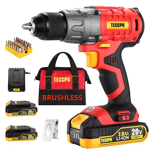 """TECCPO Cordless Drill Set, 20V Brushless Drill Driver, 2x 2.0Ah Li-ion Batteries, 530 In-lbs Torque, 1/2""""All-metal Chuck, 21+1 Torque Settings, 0-1500RPM Variable Speed, 33pcs Accessories with Case"""