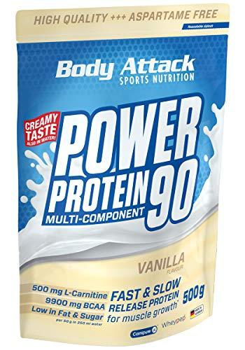 Body Attack Power Protein 90, 5K Eiweißpulver mit Whey-Protein, L-Carnitin und BCAA für Muskelaufbau und Fitness, Made in Germany (Vanilla Cream, 500g)