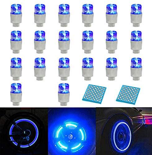 LZYMSZ 20PCS de luz de Válvula de Rueda, Luces de Tapa de Vástago de Válvula de Neumático de Rueda de Flash LED para Coche, Bicicleta, Motocicleta (Blue)