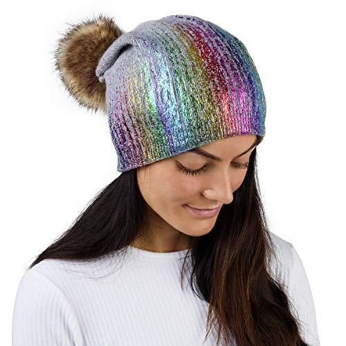 CityComfort Beanie Hoed met Faux Fur Pom Pom, Winter Hoeden voor Vrouwen, Warm Outdoor Bobble Hoed Elegant Sparkle Design, voor Vrouwen, Ski Wear