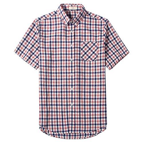 Camisas de Manga Corta para Hombre Camisas de Manga Corta a Cuadros clásicos de Verano para Oficina de Negocios Camisas de Manga Corta Delgadas S