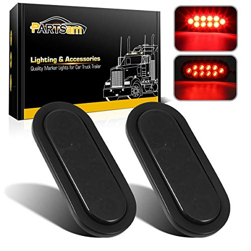 Partsam 2Pcs 6 Inch Oval Red Led Trailer Tail Lights 10 Diodes Smoke Lens Stop Brake Turn Lights Grommet and Pigtails Submersible 12V Sealed for RV Trucks, 6 Oval led Tail Lights Smoked