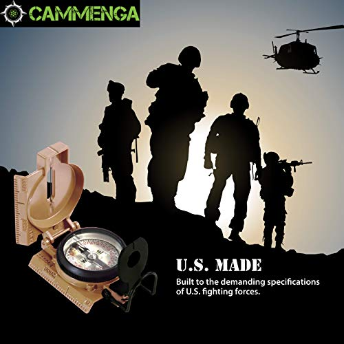 Cammenga Lensatic Tritium Compass, Official USA Military Compass - Accurate and Ultralight Tactical Compasses for Orienteering Backpacking Hunting Hiking Boating - Coyote Brown