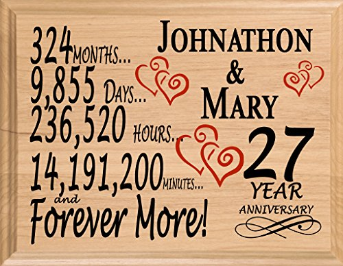 Broad Bay 27 Year Personalized 27th Anniversary Wedding Gift for Wife Husband Couple Him Her