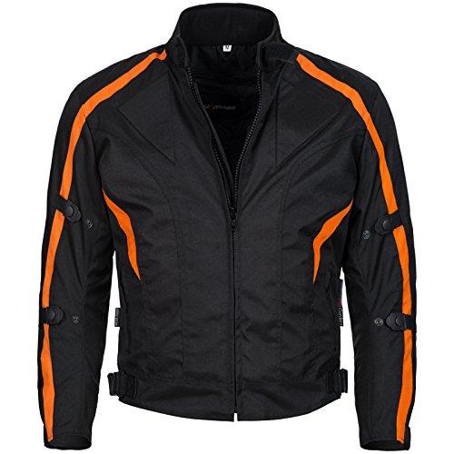 Limitless Herren Motorradjacke mit Protektoren und Reflektoren - Textil Motorrad Jacke aus Cordura - wasserdicht winddicht Schwarz Orange 784 Gr. 2XL