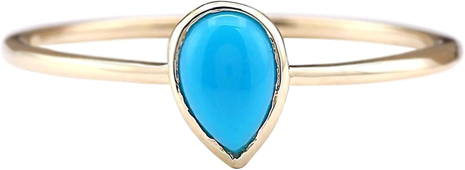 0.4 Carat Natural bluee Turquoise 14K Yellow gold Solitaire Promise Ring for Women